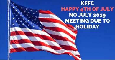 KFFC No July 2019 Meeting – Happy 4th of July