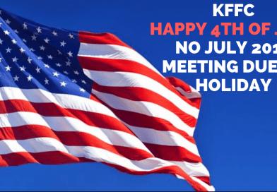 KFFC No July 2019 Meeting – Happy 4th of July