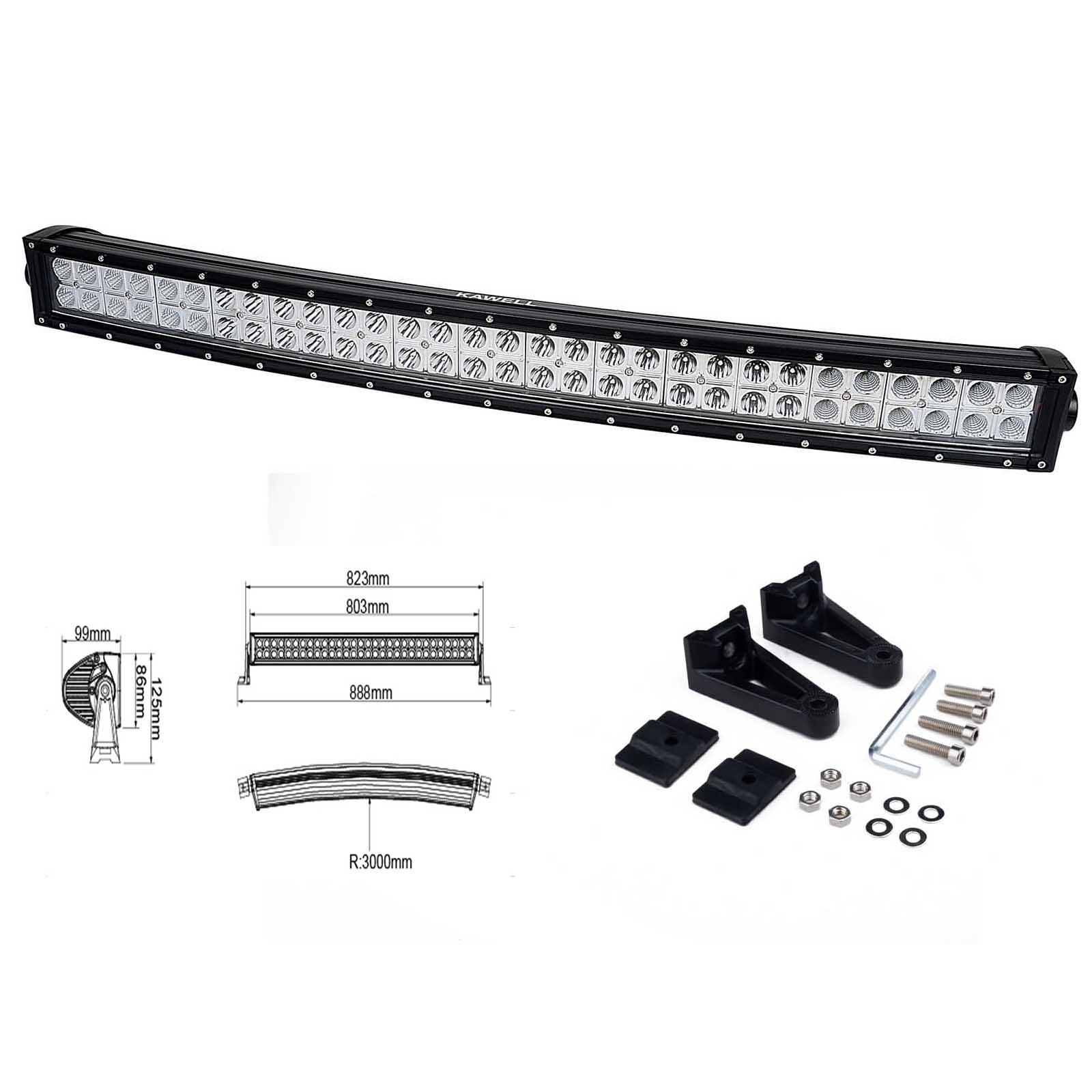 Kawell 32 180w Cree Curved Spot And Flood Combo Beam Led