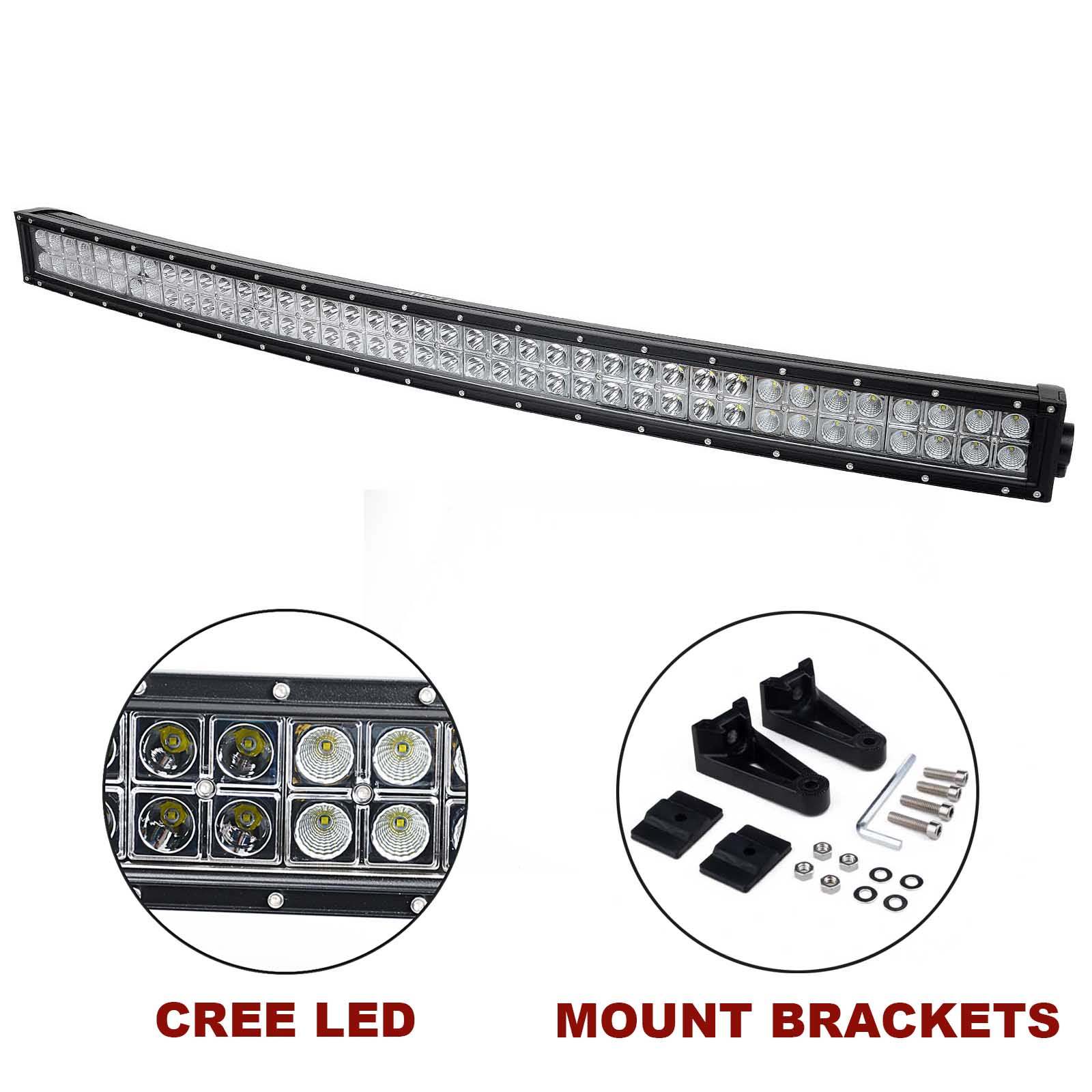 Kawell 42 240w Cree Curved Spot And Flood Combo Beam Led