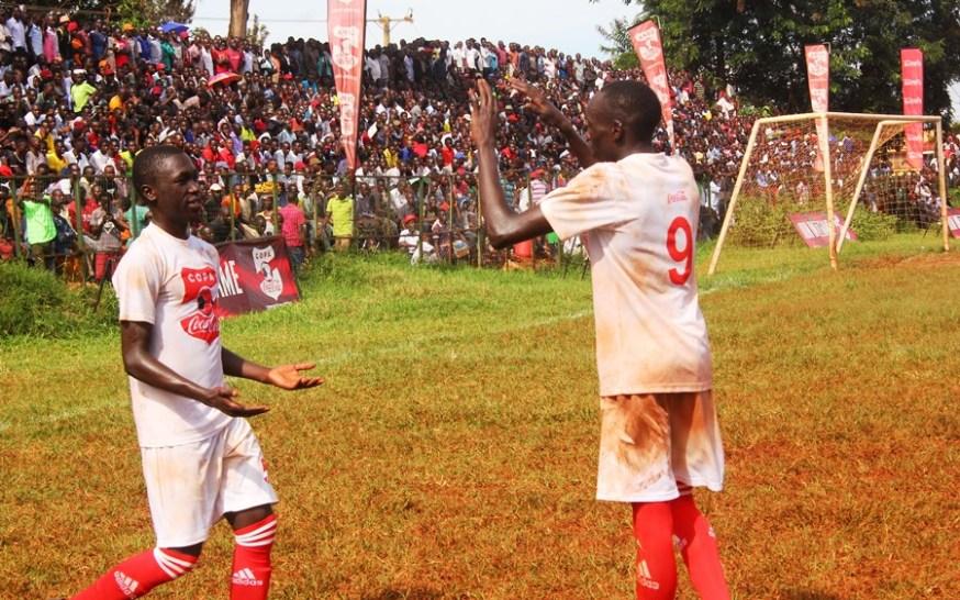 Standard High School Zana completes Wakiso trio to the Copa 2019 semi-finals #Uganda Aaron Okwii shirt 9 is congragulated by the teammate