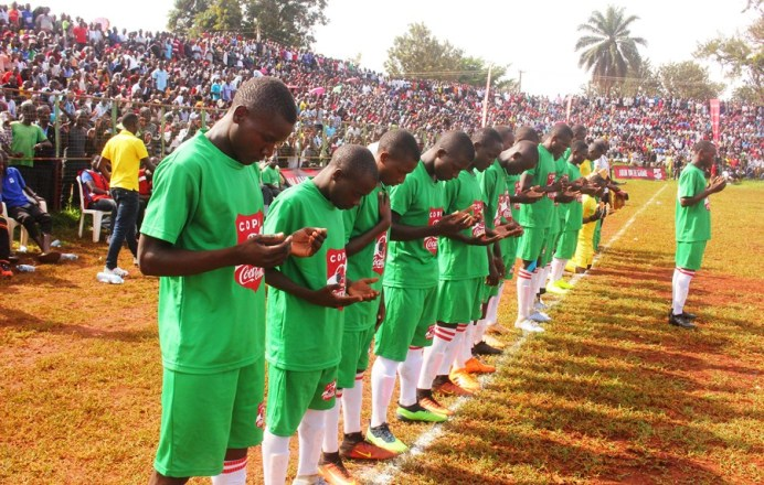 2019 Copa Football Semifinal draw held at Jinja College #Uganda Jinja SS players pray before the game
