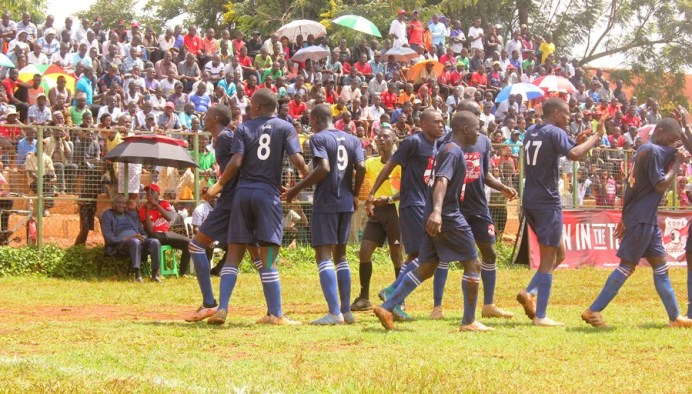 St Mary's SS Kitende out-smarts St Henry's Kitovu to reach Copa football last four stage #Uganda SMASK players celebrate before Dr Lawrence Mulindwa