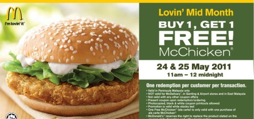 McDonald's McChicken Buy 1 free 1 Promotion-malaysia