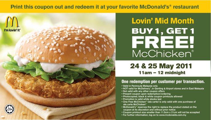 McDonald's McChicken Buy 1 free 1 Promotion-malaysia