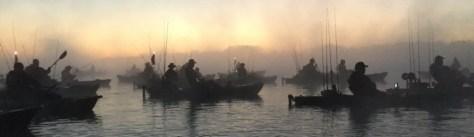 Bass Boat vs Kayak - Armada of kayak anglers