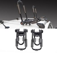 "1 Pair J-Bar Rack Foldable Kayak Carrier Canoe Surf Ski Boat Snowboard Roof Top Mounted on Car SUV Crossbar ( 34"" 165 lbs Capacity )"