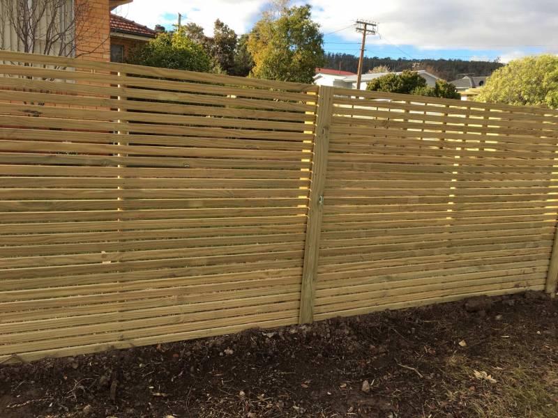 Horizontal treated pine screen fence