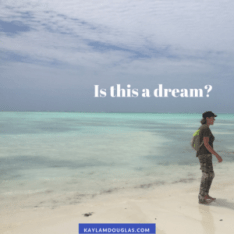 "Person with narcolepsy on idyllic beach with text ""Is this a dream?"""