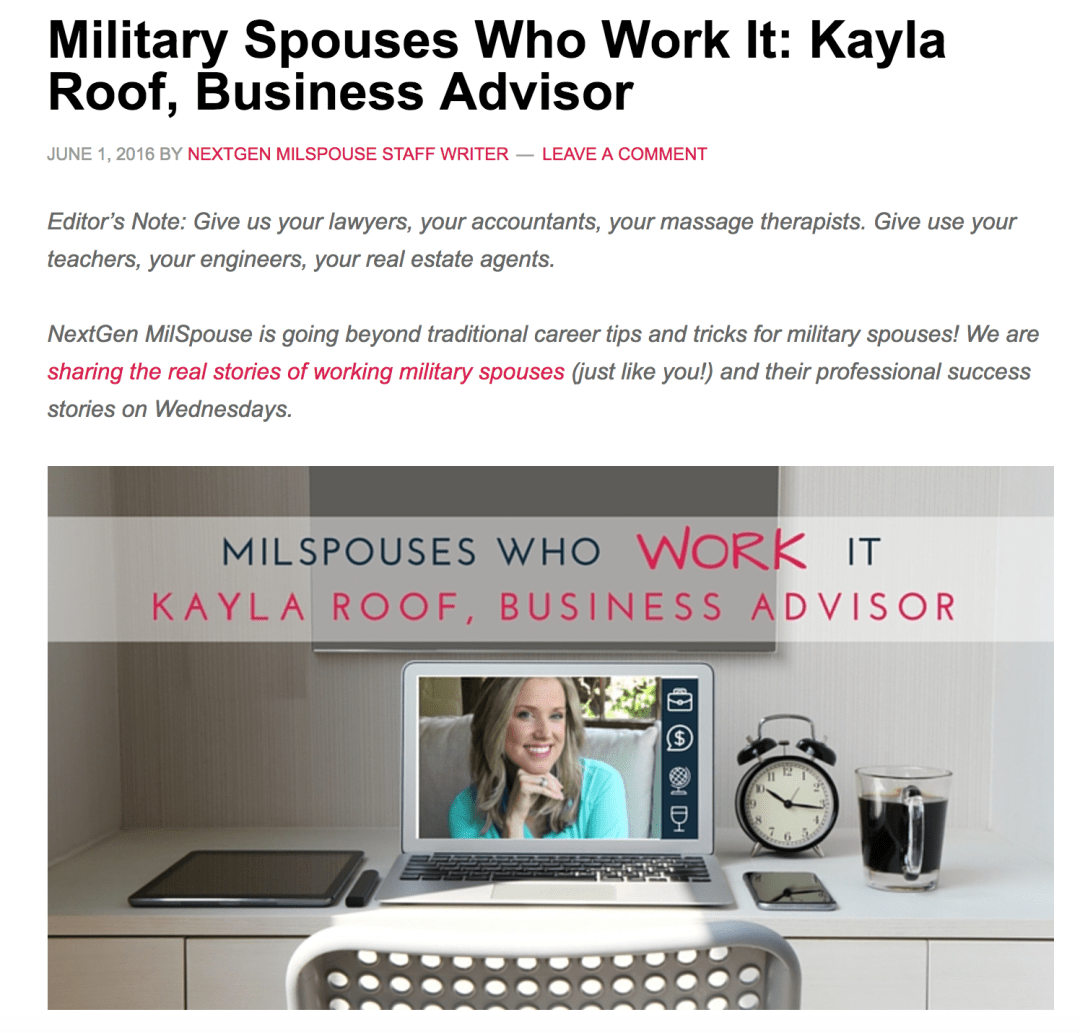 Kayla Roof Feature on NextGenMilspouse!