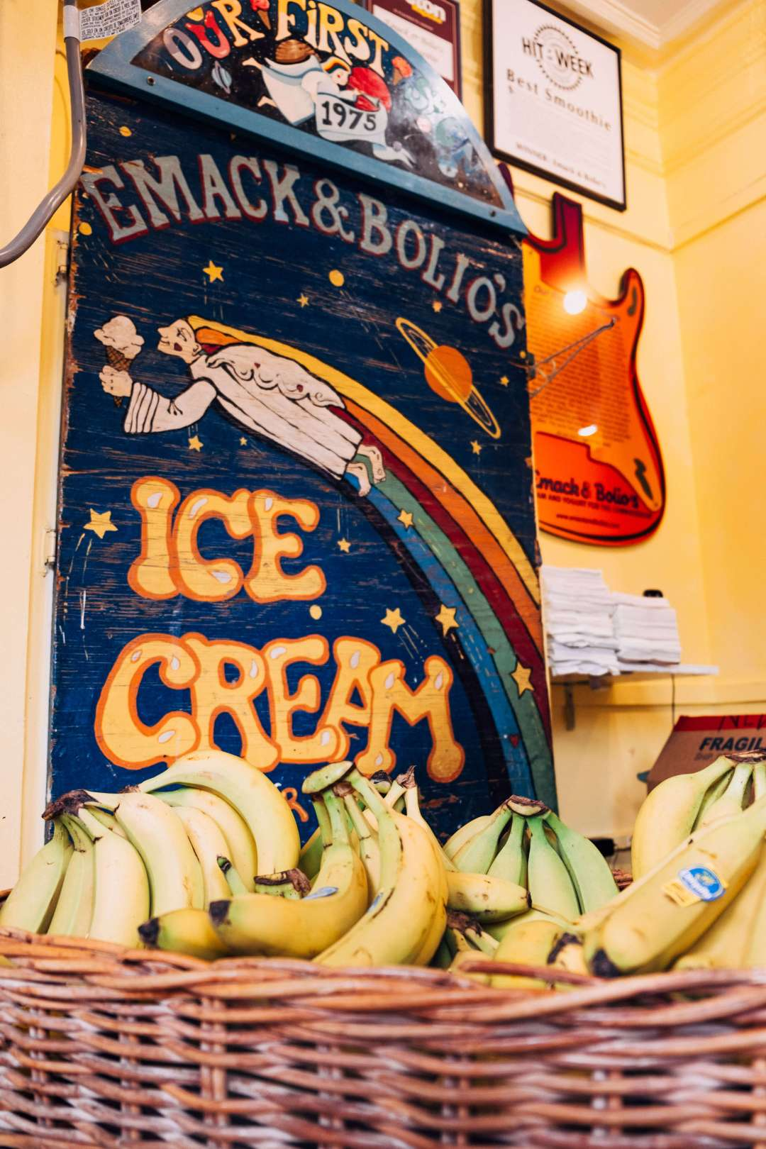 Emack and Bolio's Ice Cream and Smoothies sign with bananas