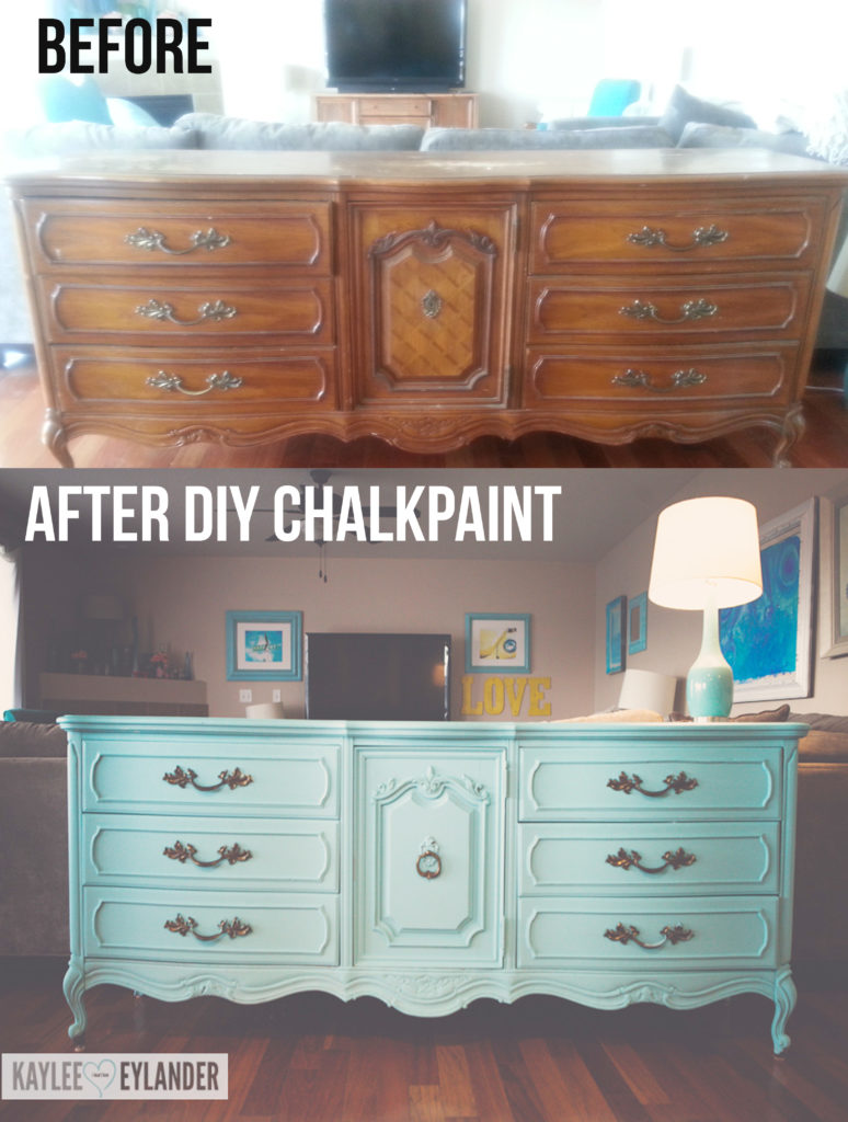 Diy chalk paint recipe thrift store dresser makeover lazy painter kaylee eylander diy - Before and after old dressers makeover with a little paint ...