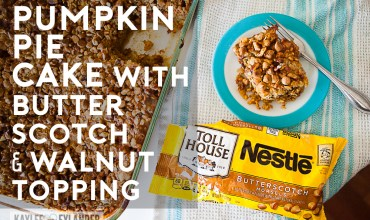 Game Day Faves   Pumpkin Pie Cake with Butterscotch and Walnut Topping