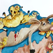 Childrens's Book Illustration: Blue Glue - watercolour