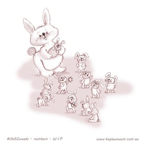 52 week illustration challenge. Gift card Challenge #illo52weeks numbers - baby rabbits