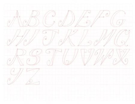 Second stage of hand lettering tutorial