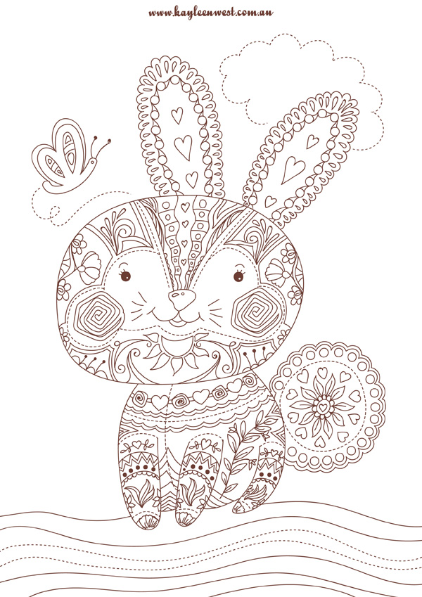 Free colouring pages Patchwork Rabbit
