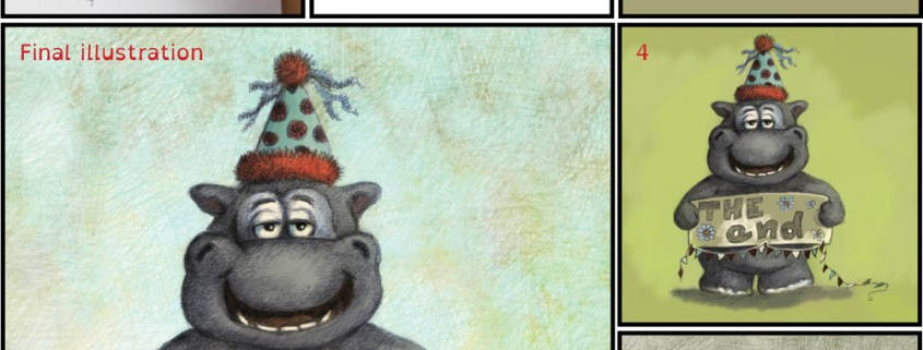Daily Doodle Happy Hippo birthday card. Childrens illustration