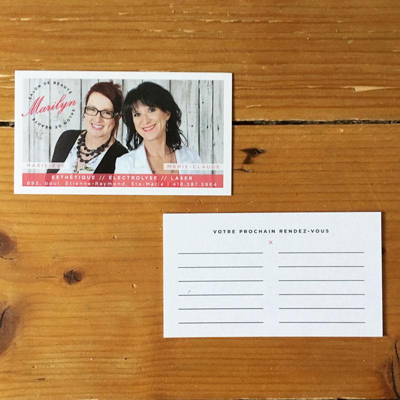 cartes d'affaires - Salon Marilyn   Kaylynne Johnson - web & design   www.kaylynnejohnson.com