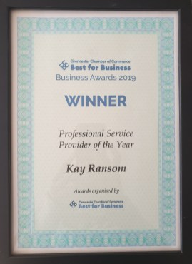 Cirencester Chamber of Commerce Business Awards Certificate