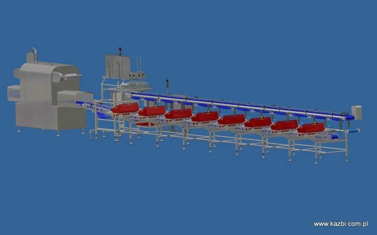 Ośmiostanowiskowa linia do przygotowania stałomasowych porcji elementów drobiowych w tackach