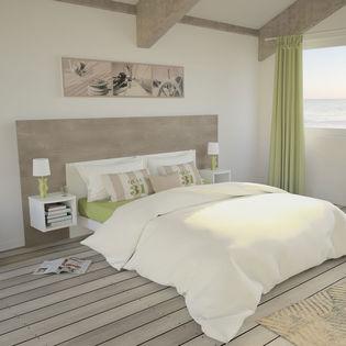 la rochelle tete de lit 1 ensemble tete de lit 140 cm 2 chevets chene cigare brut et blanc mat
