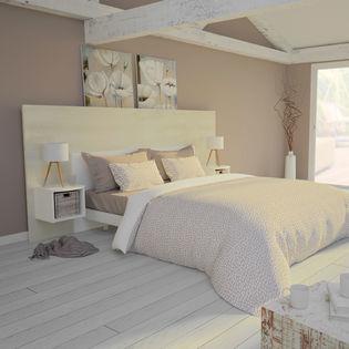 mocca tete de lit 2 ensemble tete de lit 160 cm 2 chevets bois flotte creme et blanc mat
