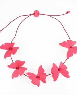 Collection Papillons de Kazh By Annie B. collier ras de cou en cuir rose fraise