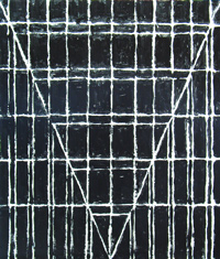 black minimalism, geometric, linear, one-point perspective, black, black and white,line pattern, abstract painting #1976, 2004 | Kazuya Akimoto Art Museum