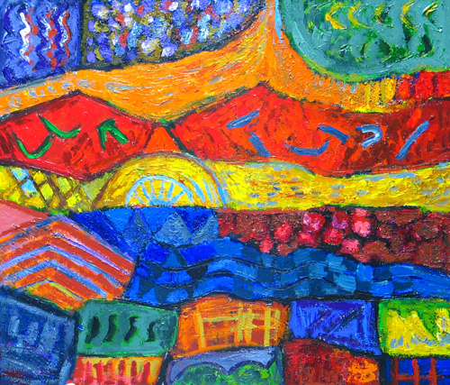 colorful, vivid, gorgeous, complementary color combinations, imapsto, joyful, texture, abstract landscape, country life, countryside, expressionism, outdoor, abstract expressionism,country landscape scene,  lyrical abstraction, colorful abstraction, acrylic painting#2117, 2004 | Kazuya Akimoto Art Museum
