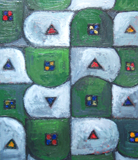 Geometric Green Suburbs : abstract geometric pattern, abstract landscape, abstract suburban image, abstract map pattern image acrylic painting#2167, 2004 | Kazuya Akimoto Art Museum