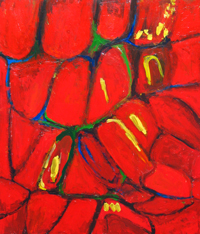 Tropical Red Cells : abstract tropical red, abstract fruit, abstract cell pattern image, abstract red pattern, natural pattern, color symbolism, abstract pattern acrylic painting #2312, 2004 | Kazuya Akimoto Art Museum