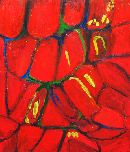 abstract tropical red, abstract fruit, abstract cell pattern image, abstract red pattern, natural pattern, color symbolism, abstract pattern acrylic painting #2312, 2004 | Kazuya Akimoto Art Museum