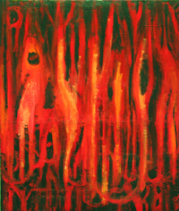 Red Forest Mutations ( The Radioactive Mutations of Trees, Plants and Animals) : The Chernobyl Zone, dark surrealism painting, world environmental theme, abstract red mutating flora and faura painting, radioactive debris scene, abstract disastrous forest scene, abstract ecosystem painting #2353, 2004 | Kazuya Akimoto Art Museum