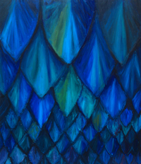 Dark Blue Cave Bat Pattern :abstract, dark, blue, animal symbolism, repetition, natural pattern symbolism, cave bat theme, acrylic painting #2459, 2004 | Kazuya Akimoto Art Museum