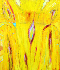 Abstract Yellow Wood Grain Texture : abstract wood grain texture pattern, abstract natural texture, natural pattern symbolism, abstract yellow symbolism, abstract texture, abstract expressionism, subtle line pattern, pattern symbolism, natural tree symbolism, botanical symbolism, abstract nature, complementary color pattern, acrylic painting #2555, 2004 | Kazuya Akimoto Art Museum