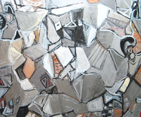 abstract, philosophical, Plato, literature theme, silver cubism, still life, nature morte, interior, metallic color, acrylic painting #3801, 2005 | Kazuya Akimoto Art Museum