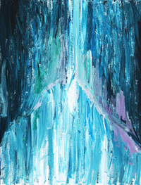 The Coming : spiritual, religious, abstract expressionism, blue, luminous, light, acrylic painting 2005