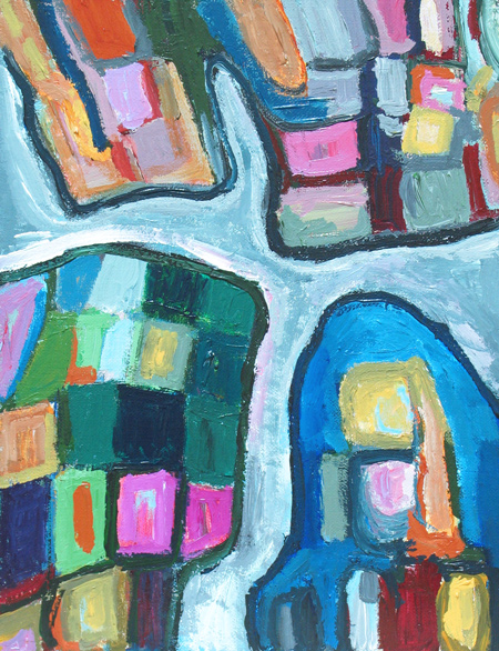 abstract, geographical, cells, cellular, thick line, line pattern, acrylic painting #4251, 2005   Kazuya Akimoto Art Museum