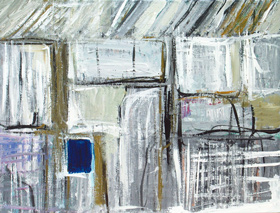 abstract graffiti, brush stroke, rectangular straight handwriting line pattern, geometric, abstract expressionism, blue black, white, acrylic painting $4259, 2005 | Kazuya Akimoto Art Museum
