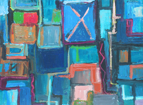 Abstract Street Ads : abstract cityscape, geometric, geometric pattern, rectangular pattern, repetition pattern, abstract streetscape, graffiti, rough, brush stroke pattern acrylic painting #4290, 2005 | Kazuya Akimoto Art Museum