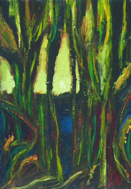 literature (Conrad) theme, dark rain forest, abstract dark landscape, abstract dark nature scene, abstract narrative, literary symbolism,  nature symbolism, acrylic painting #4326, 2005 | Kazuya Akimoto Art Museum
