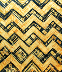 Japanese traditional ornamental angular pattern painting, gold, black, angular, metallic, waving, stripe pattern, decorative painting, abstract contemporary Japonism, geometric pattern, repetition pattern, ornamental abstraction, acrylic painting #4366, 2005 | Kazuya Akimoto Art Museum
