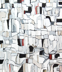 Abstract map, abstract cityscape, abstract streetscape, black and white irregular soft line pattern, abstract urban block pattern, abstract cell pattern, abstract urban route pattern, acrylic painting #4408, 2005 | Kazuya Akimoto Art Museum
