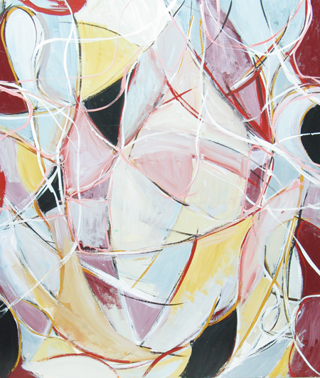 abstract dark red and white soft line pattern abstract expressionism painting, abstract curves, linear lyrical abstraction, abstract human love theme, acrylic painting #4428, 2005 | Kazuya Akimoto Art Museum