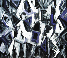 Ghosts of a White Horse and a Skeleton Rider : new allegorical symbolism black and white abstract figurative abstract painting, abstract surrealism, surreal abstract pattern, acrylic painting #4450, 2005 | Kazuya Akimoto Art Museum
