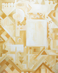 Abstract Alhambra Palace in Sepia : Islamic abstract monotone geometric pattern, architectural symbolism painting #4575, 2005 | Kazuya Akimoto Art Museum