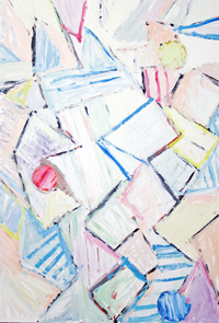 Abstract Striped Sundae : abstract, geometric line pattern, striped, pastel color, awkwardly shaped, acrylic painting #5269, 2006 | Kazuya Akimoto Art Museum