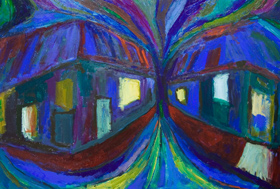 Night Village Streets : distorted,distortion, abstract, blue, night scene, cityscape, streetscape, dynamic movement, expressionism acrylic painting #5292, 2006 | Kazuya Akimoto Art Museum