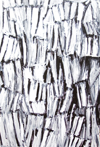 two-dimensional, piled/repeated found object, bricolage, assemblage, black and white, abstract acrylic painting #5296, 2006 | Kazuya Akimoto Art Museum